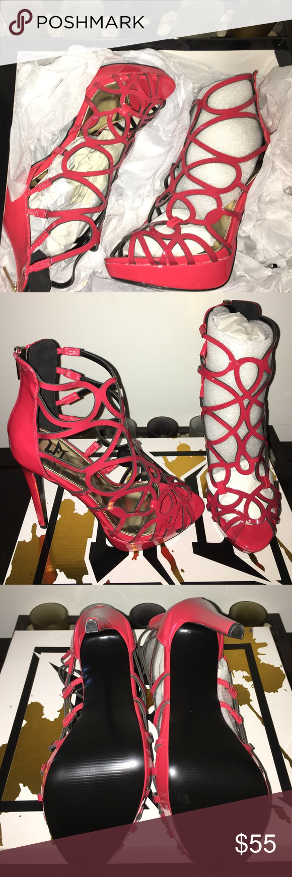 Cage Coral Platforms These shoes are 5 inches high and never worn....Fall party color. Shoes Heels