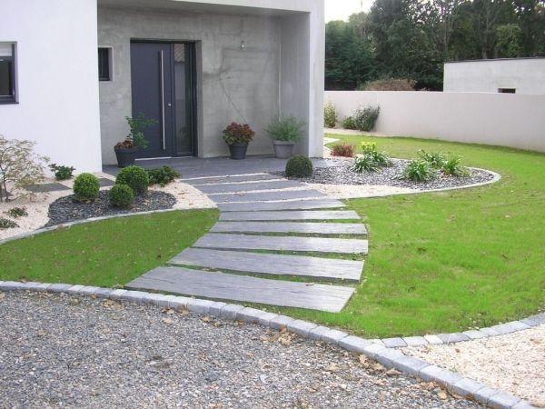 Paysagiste entrée exterieure maison | déco jardin (garden ...