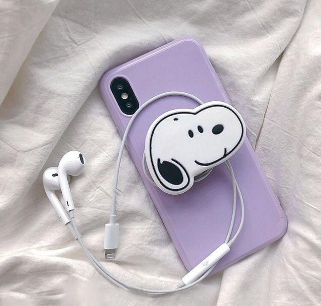 Purple White And Purple Snoopy Earphones Aesthetic Tumblr