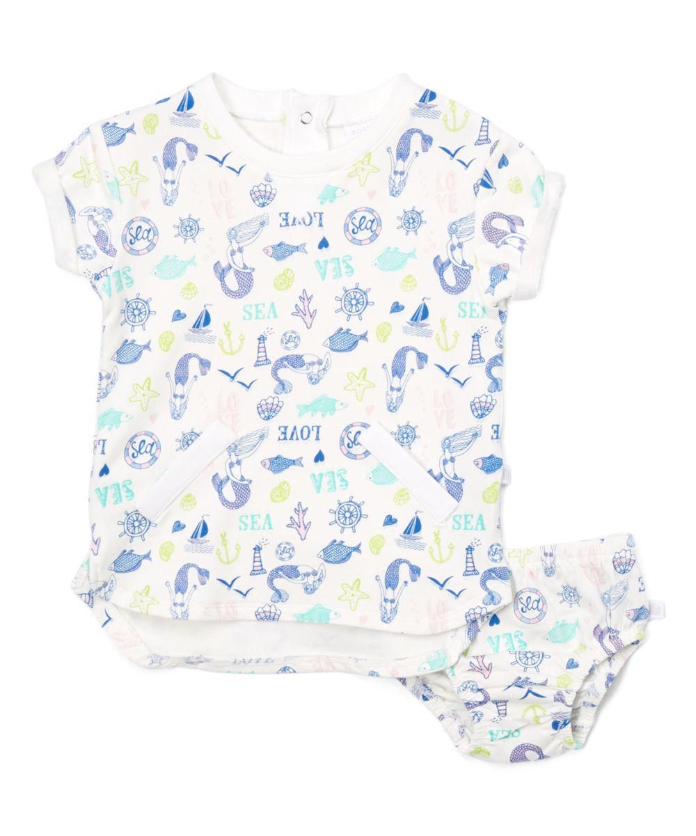 White & Blue Sea Cap-Sleeve Top & Diaper Cover - Infant