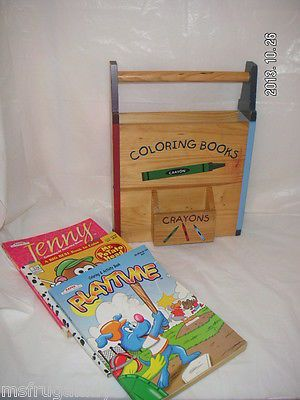 keep the kids coloring books box of crayons in 1 place wood coloring activity - Coloring Book And Crayon Holder