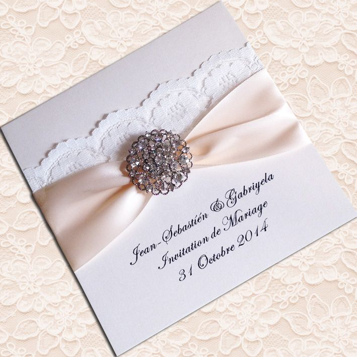 Pin By Anisha On Wedding Invites Simple In 2019: Elegant Ivory Lace Wedding Invitations Embellished With