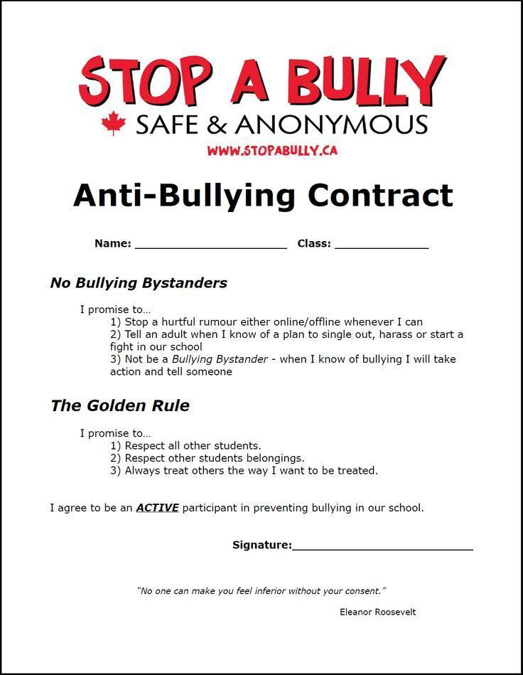 Example Of An AntiBullying Contract For Students  Bullying