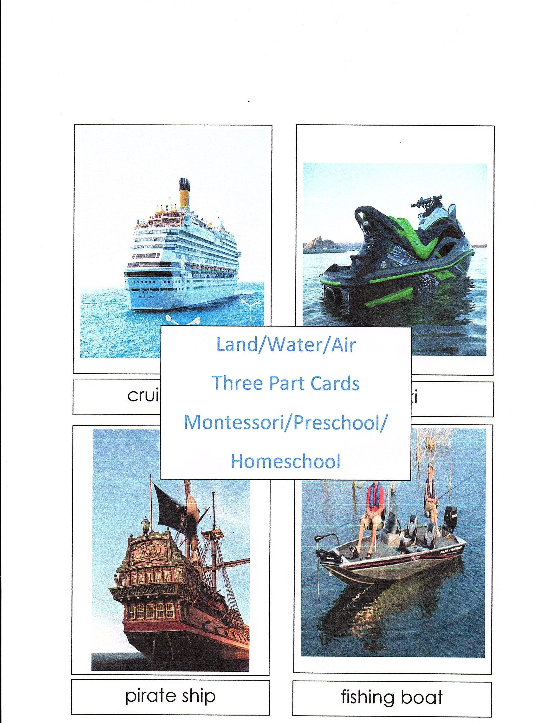 Land Water Air Matching Game Sorting Work Classification