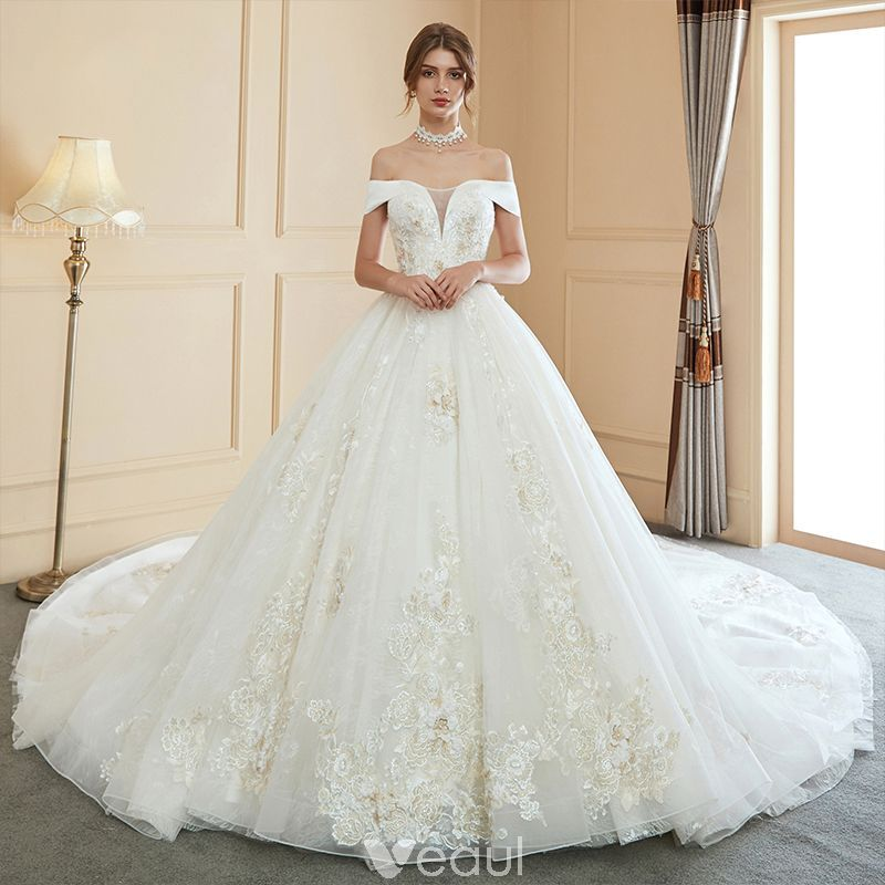 Modern Fashion Ivory Wedding Dresses 2019 Ball Gown Off The