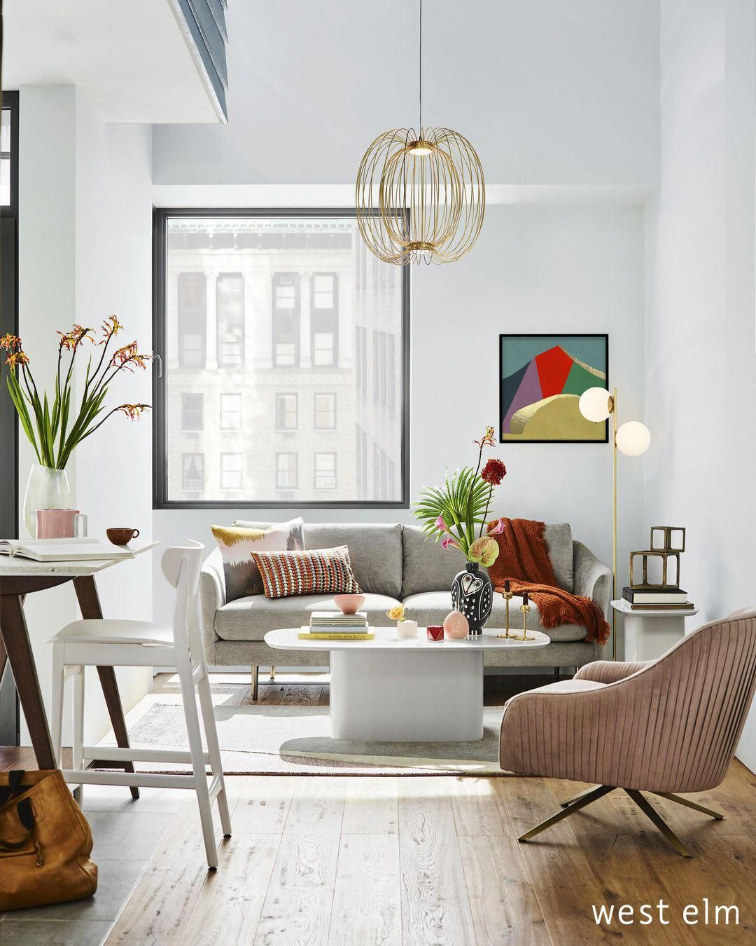 Vintage Living Room Ideas For Small Spaces: Mix + Match Modern Apartment. Airy Small Space Apartment