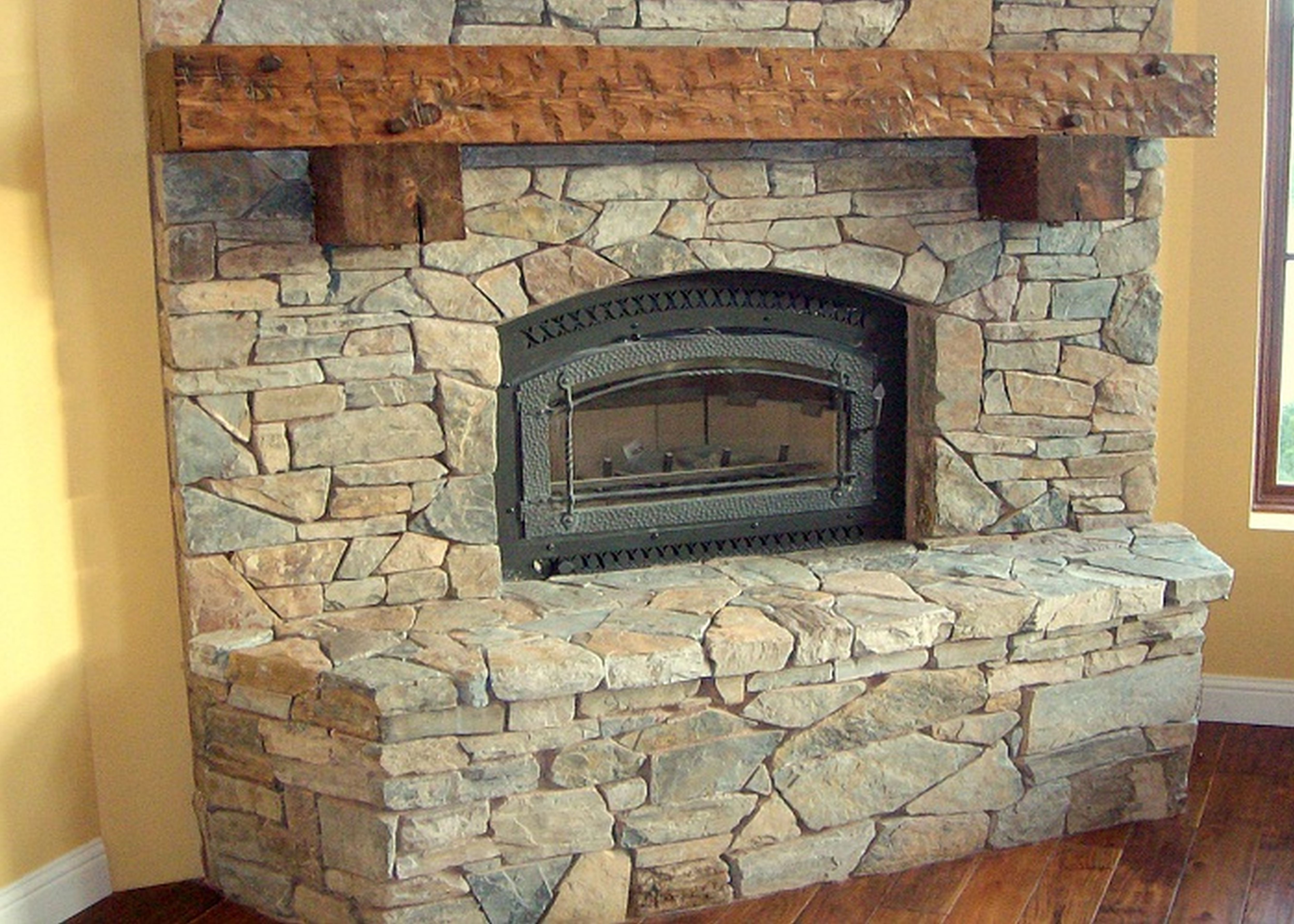 Archaic paint stone fireplace architecture fair stone Corner fireplace makeover ideas