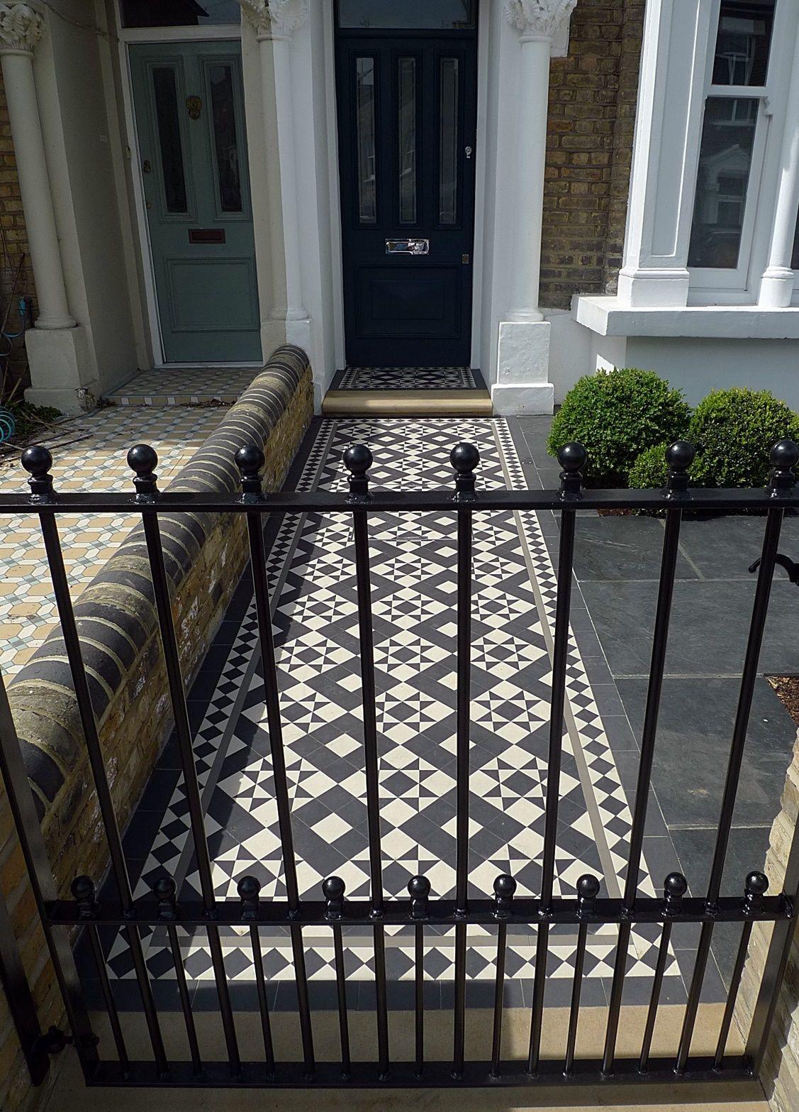 Metal Gate Rails Path Mosaic Victorian Slate Paving Grey
