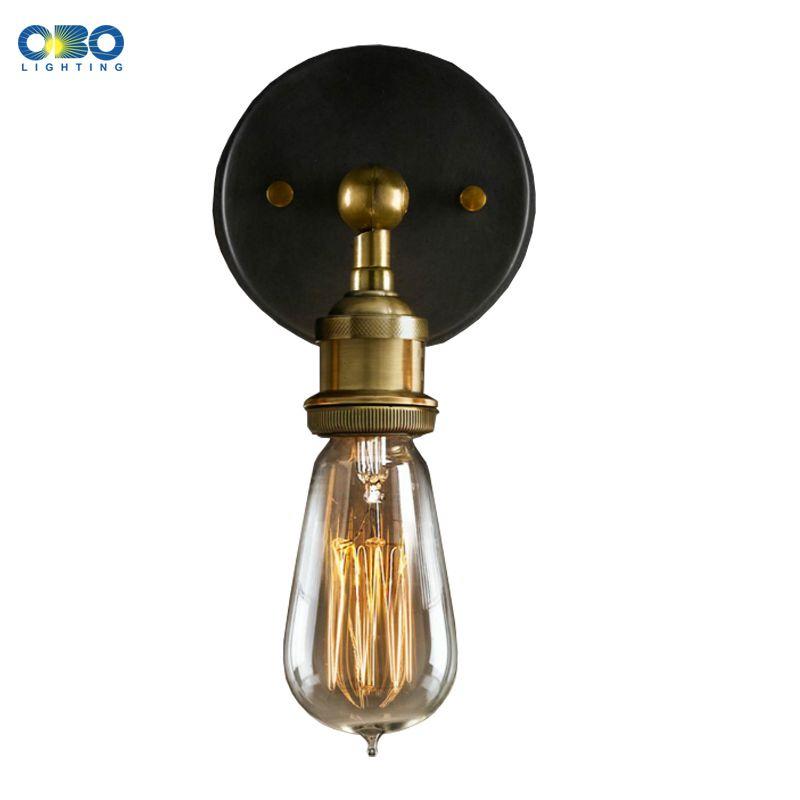 Vintage Single Simple Black Iron Indoor Bedroom Wall Lamp Bar Club Wall Lighting E27 Lamp Holder 110 240v Free Iron Wall Lighting Wall Lights Wall Lights Retro