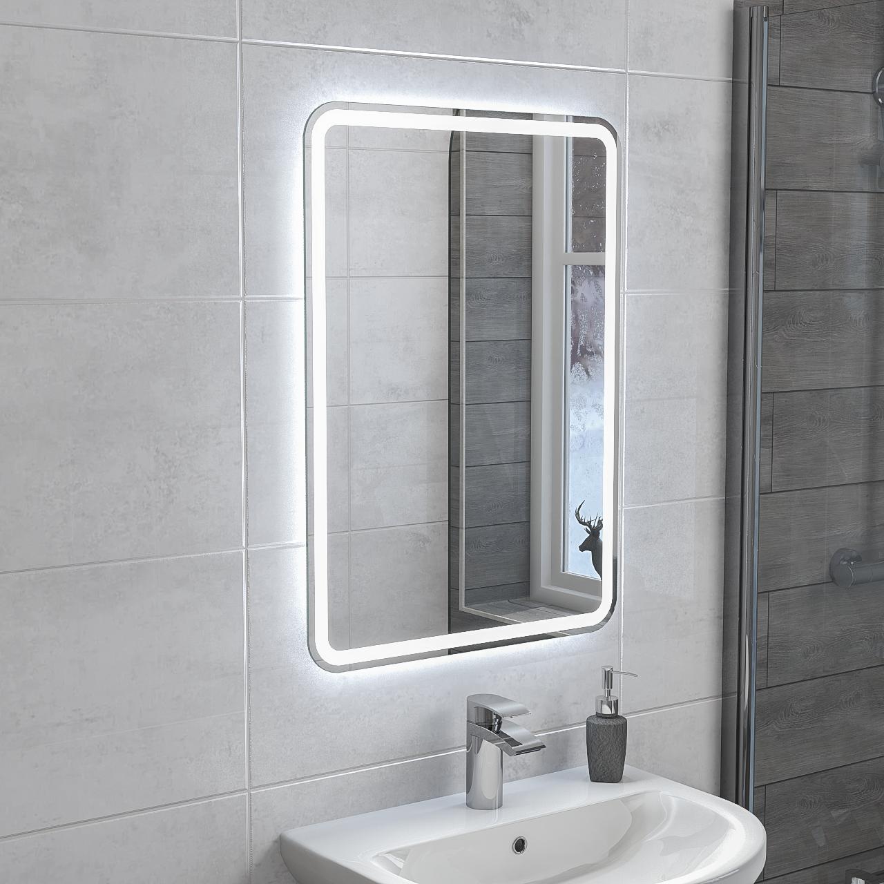 Hora 500mm X 700mm Rectangular Led Mirror In 2020 Led Mirror Mirror Led