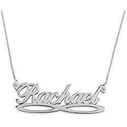 HACOOL Personalized 925 Sterling Silver Vertical Infinity Name Necklace Pendant Custom Made with 2 Names