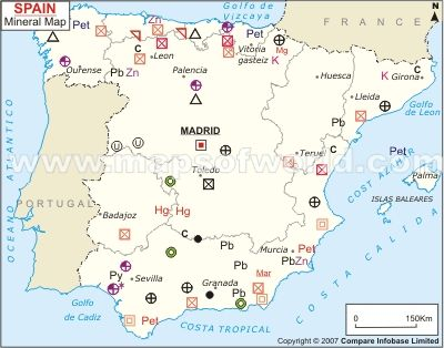 Map Of Spain Huesca.Spain Mineral Map Spain Map Spain Minerals