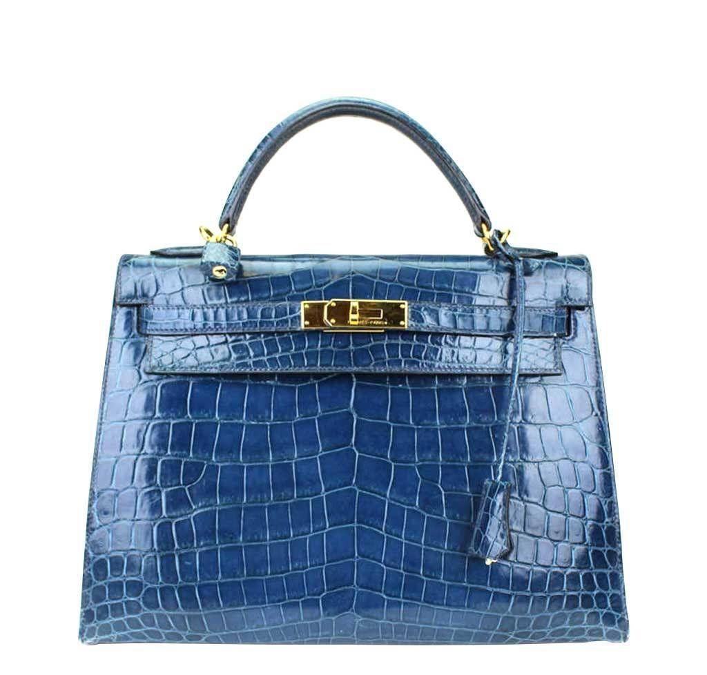 herm s kelly 32 blue roi niloticus crocodile bag hermes. Black Bedroom Furniture Sets. Home Design Ideas