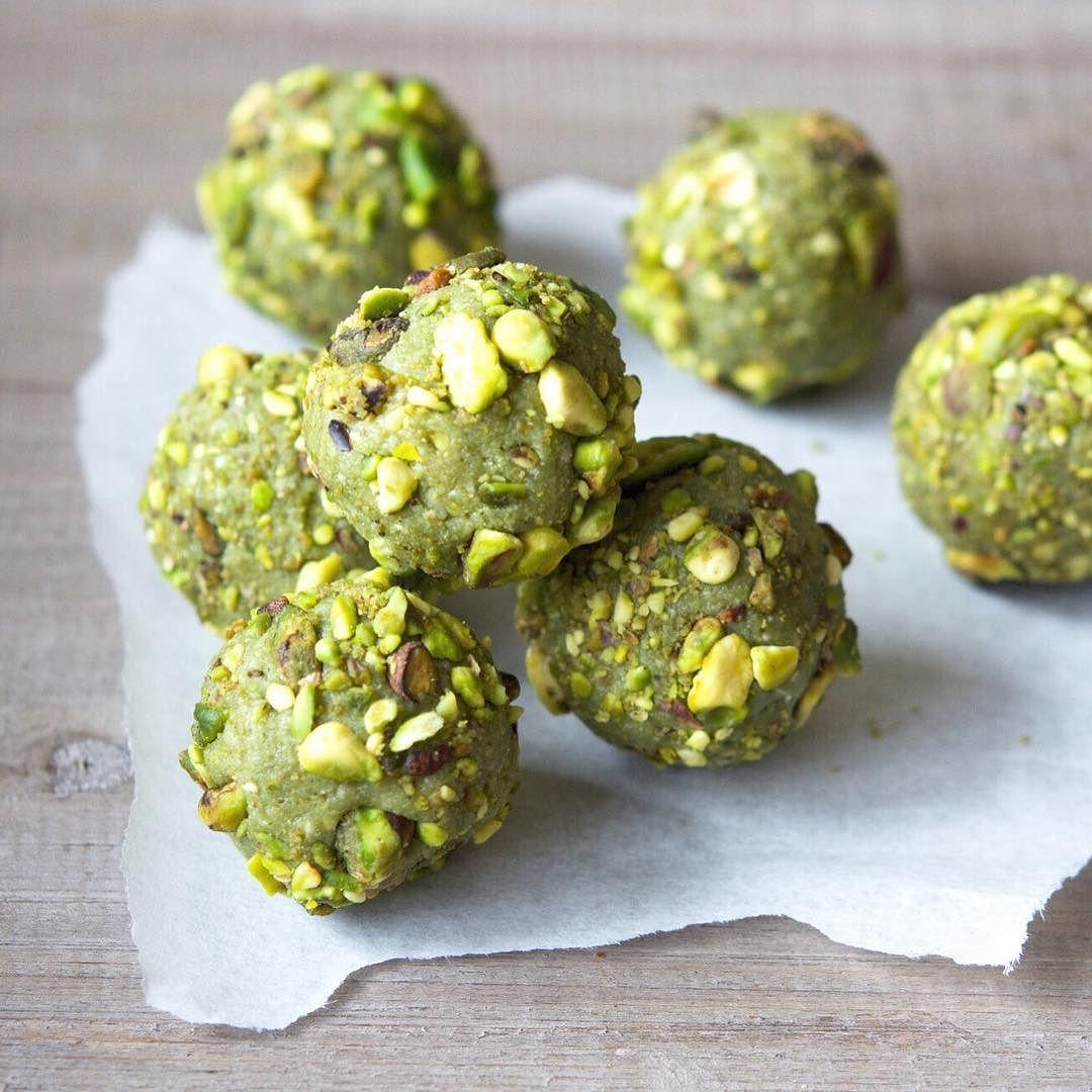 Gluten Free Vegan Paleo Matcha Pistachio Bliss Balls Are The