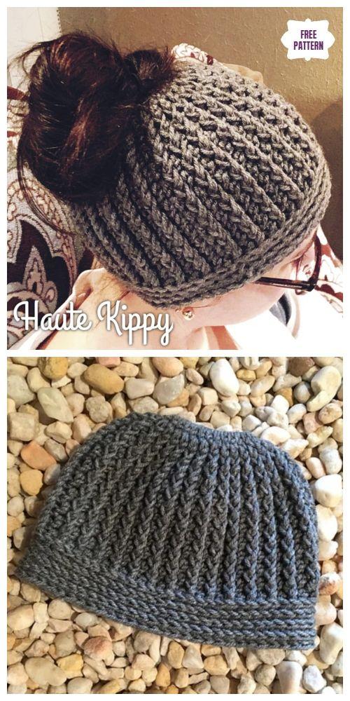 Crochet Gina Messy Bun Hat Free Crochet Pattern #messybunhat