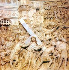 relieve en piedra de cristo con la cruz escultura gotica (Yosafat Cáceres Baeza)