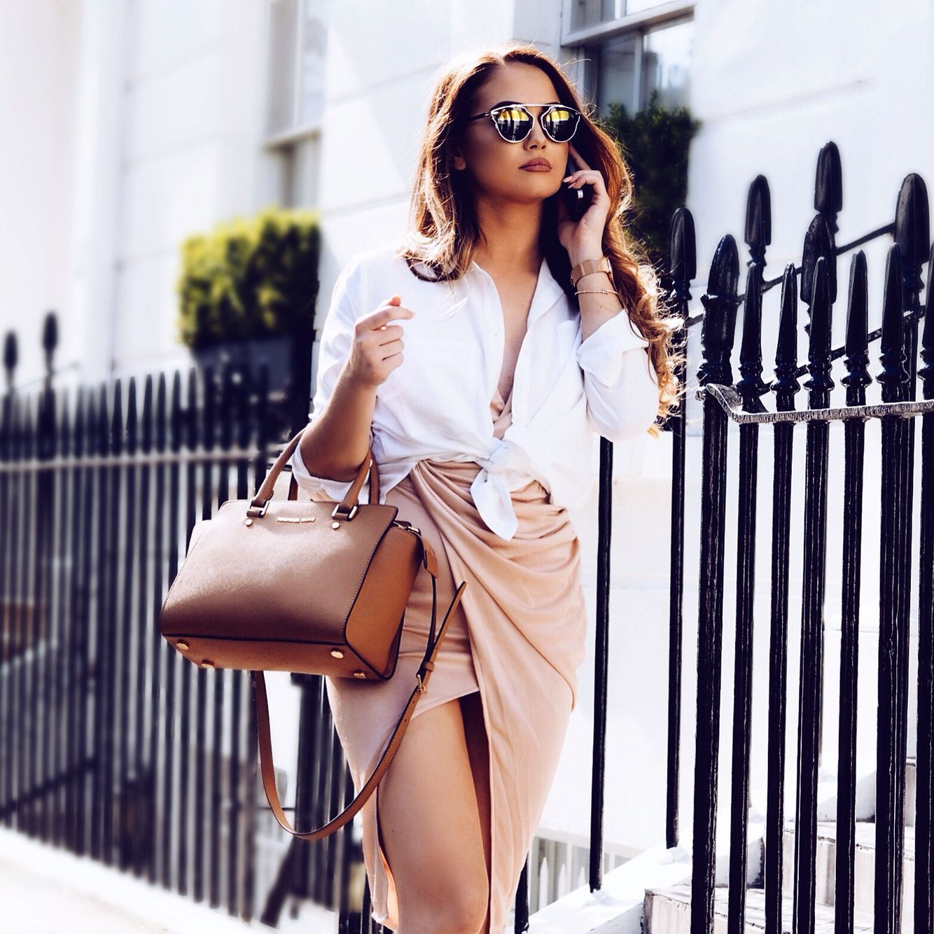 White shirt and nude skirt #blogger #fashion #fashionblogger #ukblogger #style #summerstyle #fashioninspo