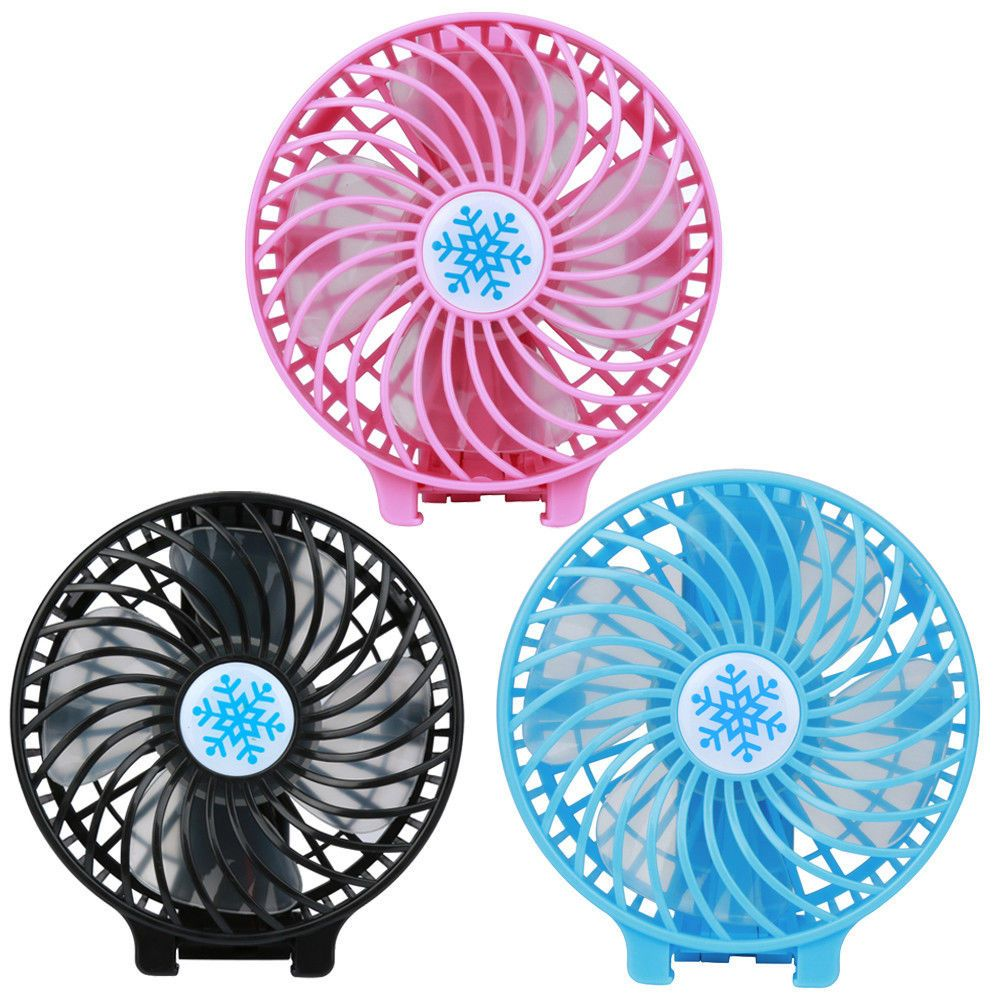 US Portable Rechargeable LED Fan Mini Desk Handheld USB 18650 Battery Air Cooler
