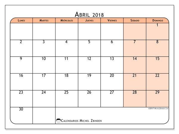 Calendario abril 2018 (61LD)   ener   Pinterest   Calendar, Mars ...