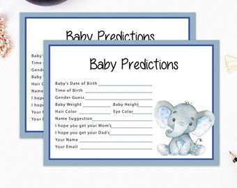 Elephant predictions, Elephant party game, guess baby weight, baby