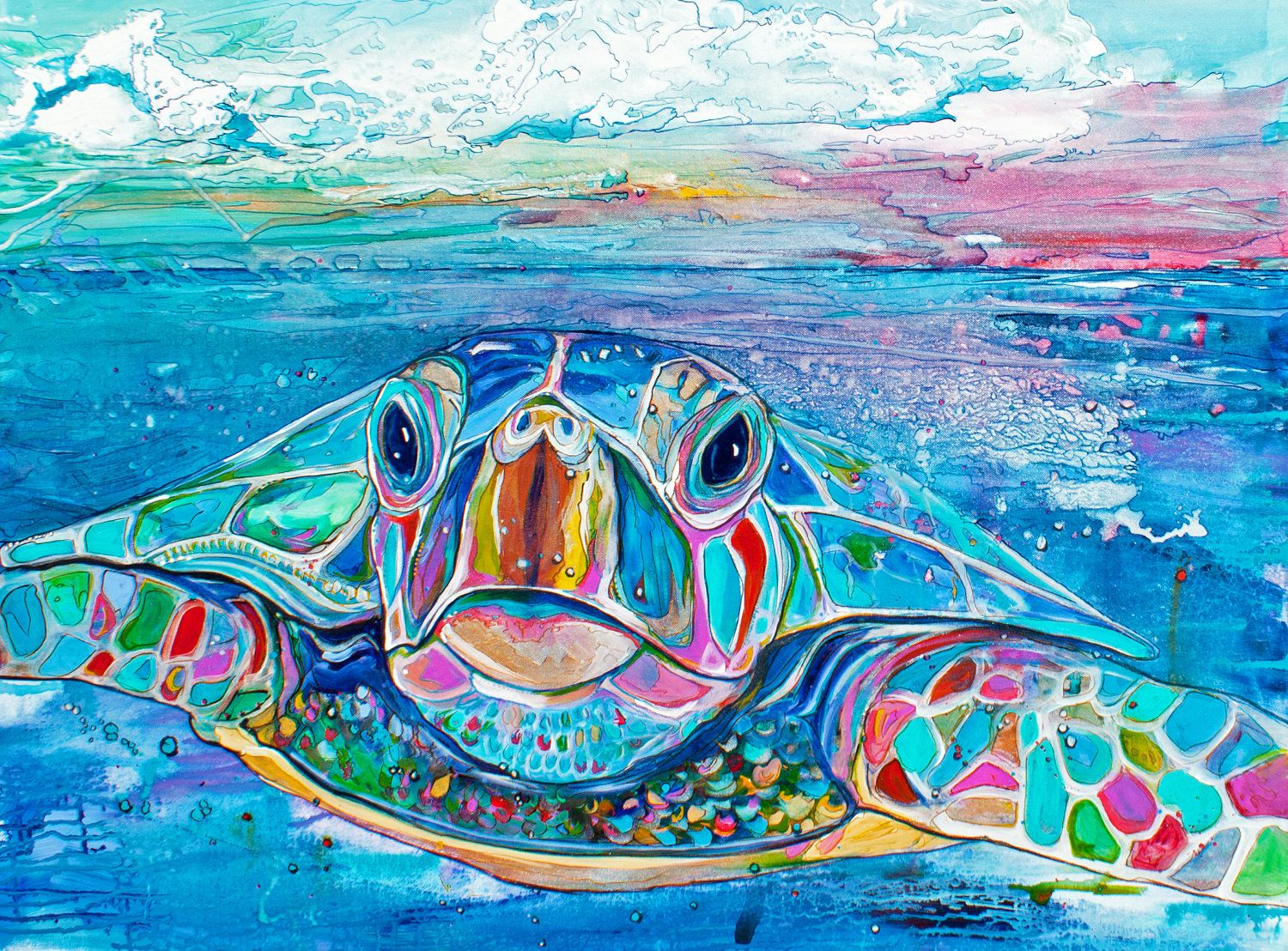 Sea turtle coastal decor outdoor print 18 x24 ready to for Sea life paintings artists