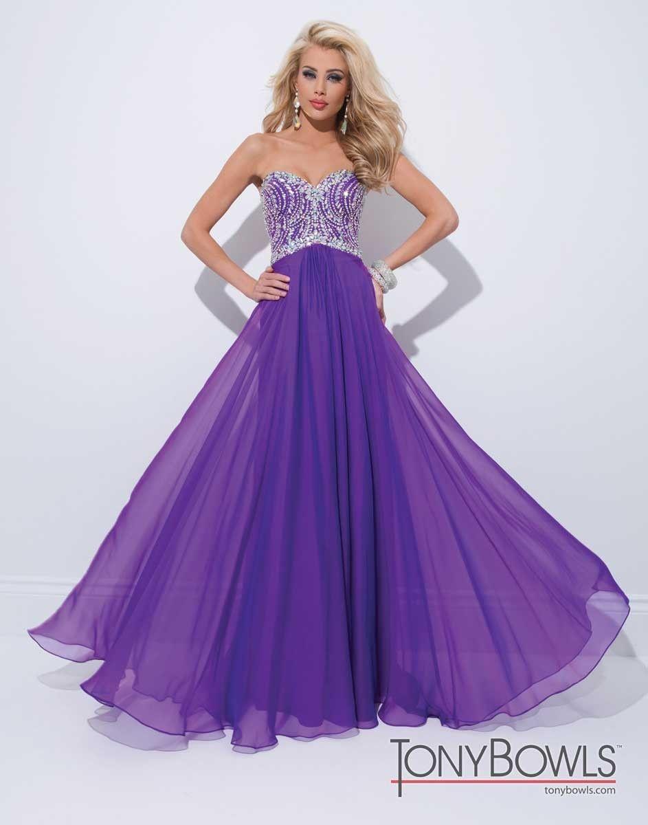 Purple Heart Neckline Chiffon Gown by Mon Cheri | Gowns | Pinterest