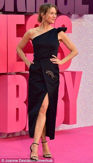 Renée Zellweger, 47, wears one-shoulder satin dress