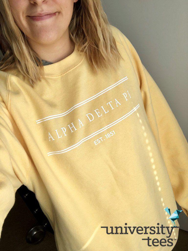 Yellow Bright Crew Sweatshirt I Made By University Tees I Alpha Delta Pi I Adpi Apparel Desig Alpha Delta Pi Sweatshirts Sorority Shirt Designs Sorority Shirts [ 1024 x 769 Pixel ]