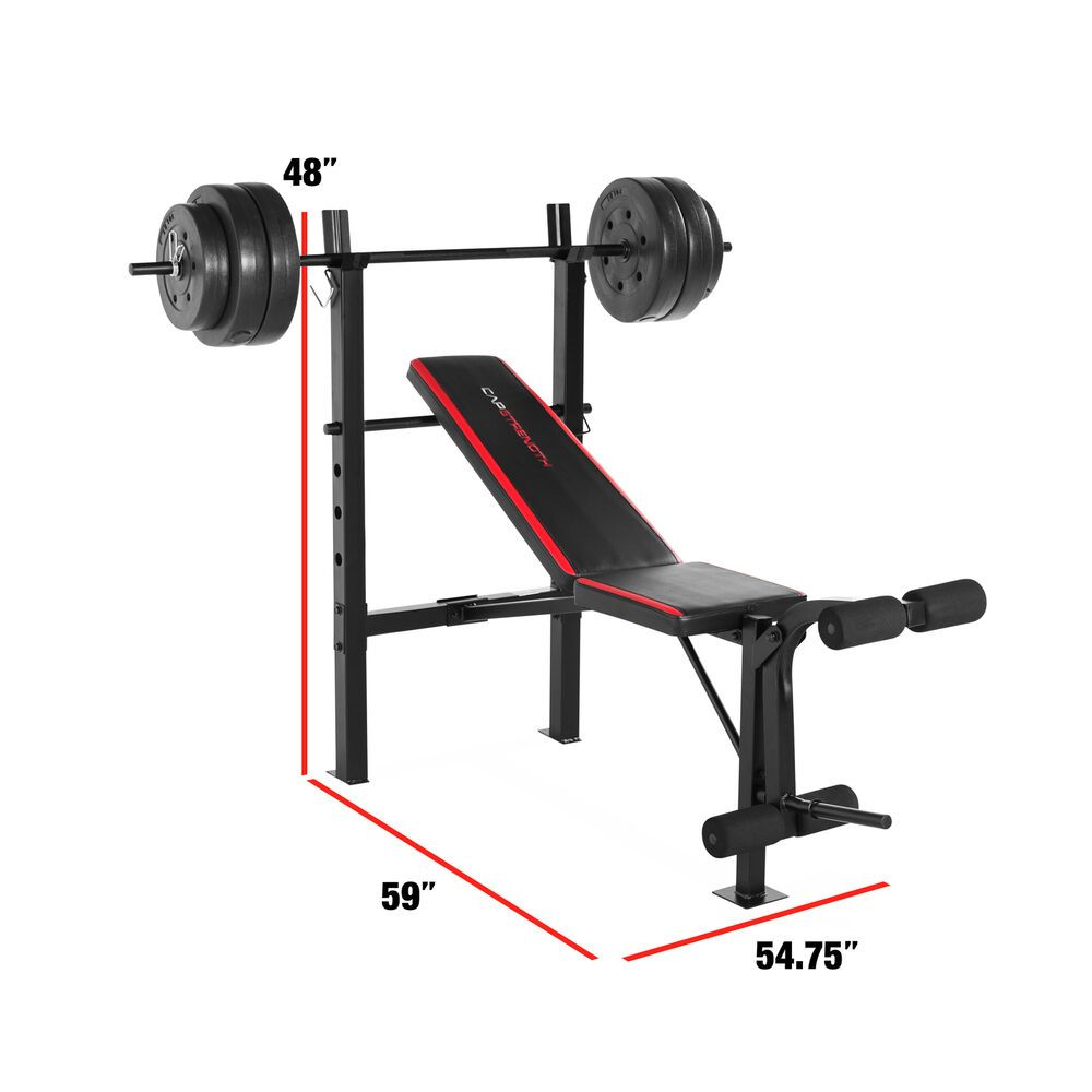 Combo Bench With 100 Pound Barbell Weight Set Indoor Home Use Versatile Design Weight Set Weight Benches Weight Bench Set