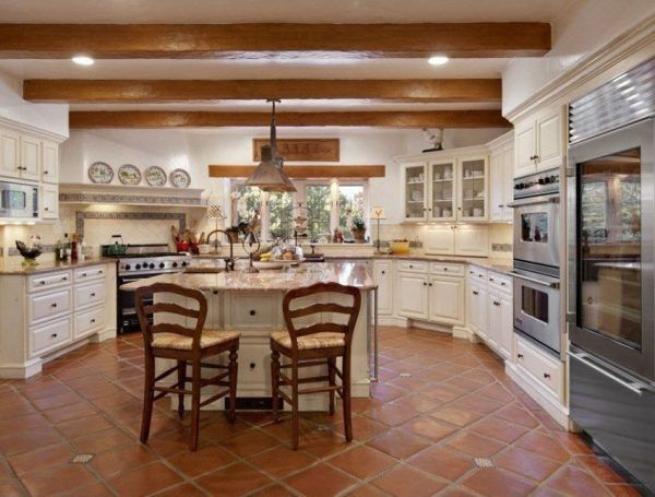 Country Style Kitchen With White Cabinets Spanish Tile Floors