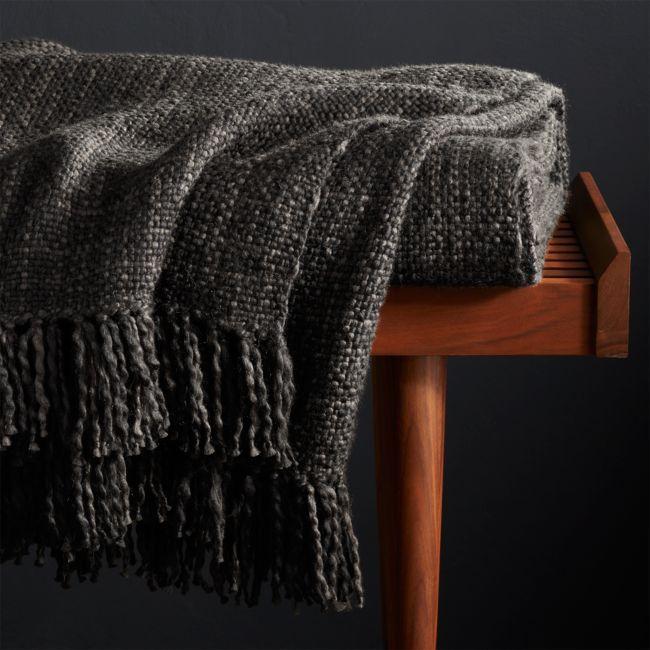 Styles Ebony Fringe Throw Blanket Reviews Crate And Barrel Blanket Black Throws Boho Bedding