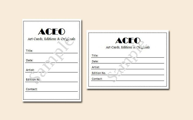 ACEO labels - FREE SHIPPING - pre-cut blank certificate of - new certificate of authenticity painting