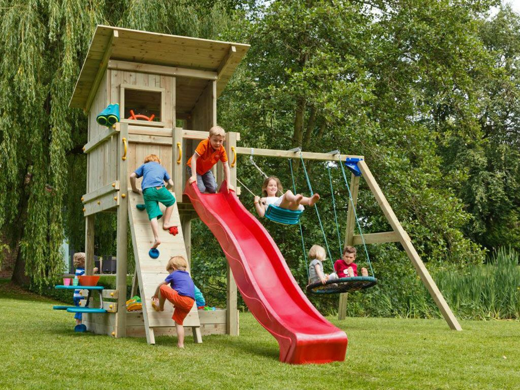 Spielturm Beach Hut Mit Roter Rutsche Spielturm Spielhauser Spielturm Garten