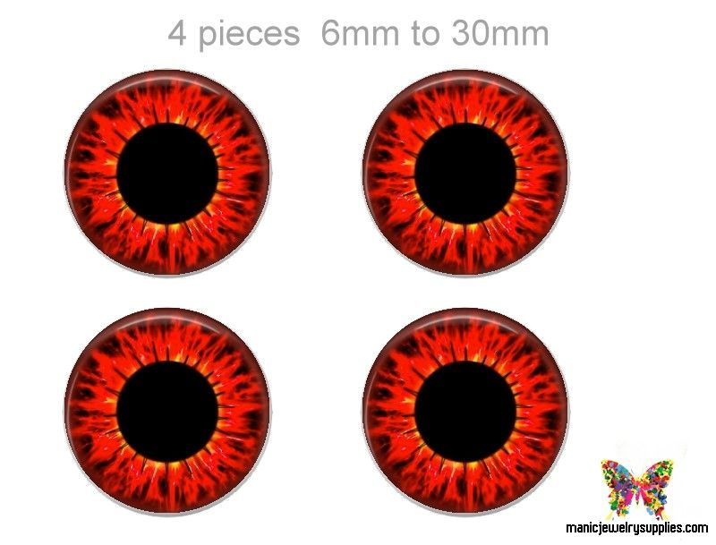 Glass Eyes Made in the USA Red Dragon Eyes 4 Pieces for Dolls and Sculptures