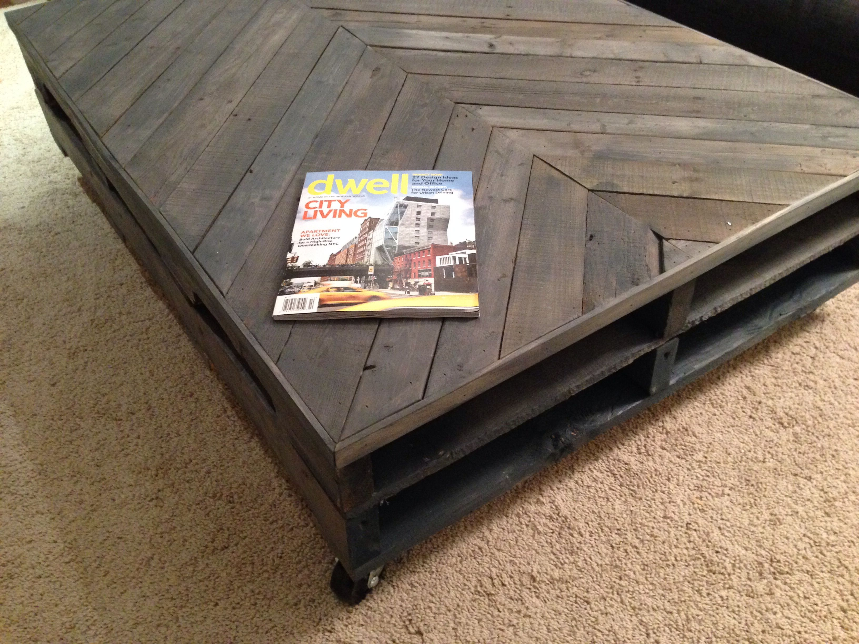 My diy pallet coffee table on casters.
