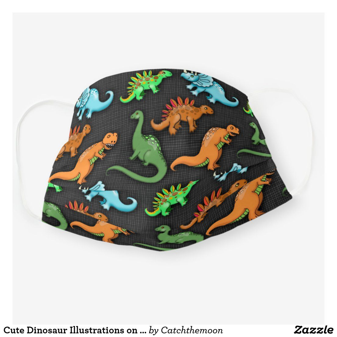 Cute Dinosaur Illustrations on Grey Background Cloth Face Mask | Zazzle.com