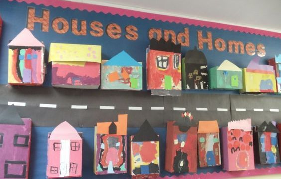 houses homes displays ks1 eyfs display classroom early years preschool activities junk topic construction area surrey theme boards learning trumps