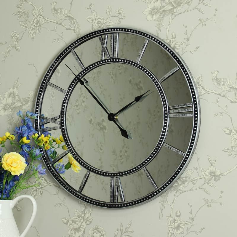 stylist and luxury giant clocks. Large Mirrored Skeleton Style Wall Clock with Roman Numerals