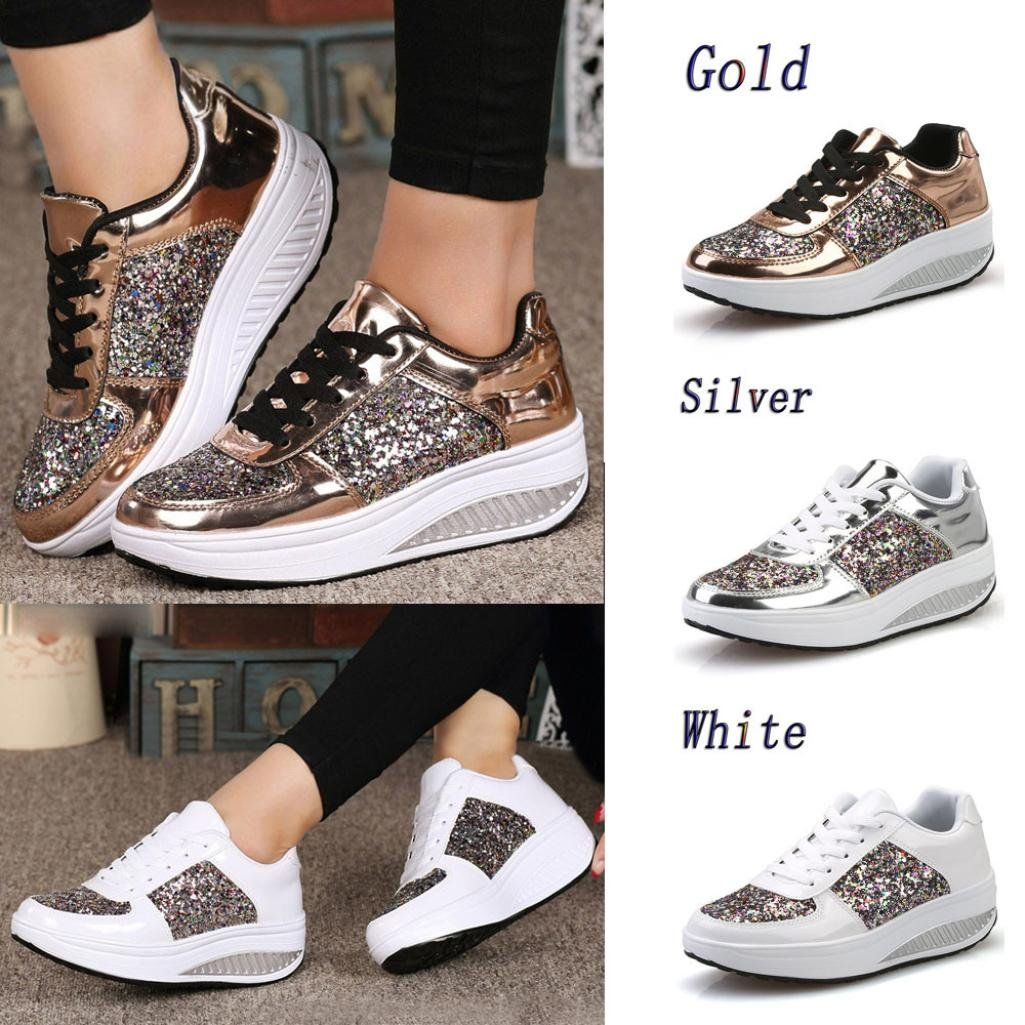 4cd07d2a09e Women Sneakers Neartime 2018 Fashion Ladies Wedges Casual Sneakers Sequins  LaceUp Shoes Girls Sport