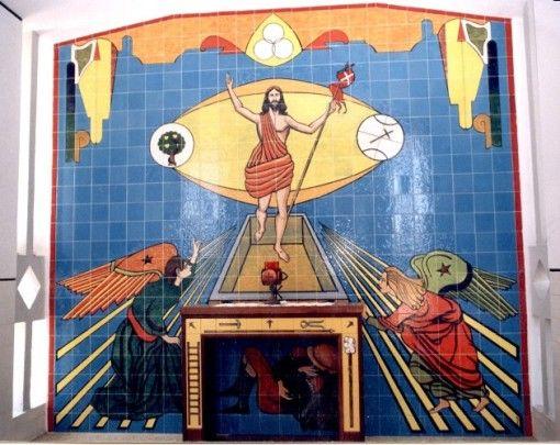 In São João Ovar Cemetery Resurrection tile panel of Jesus Christ