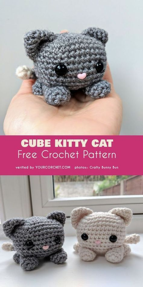 Cube Kitty Cat Amigurumi Free Crochet Pattern #crochetdolls