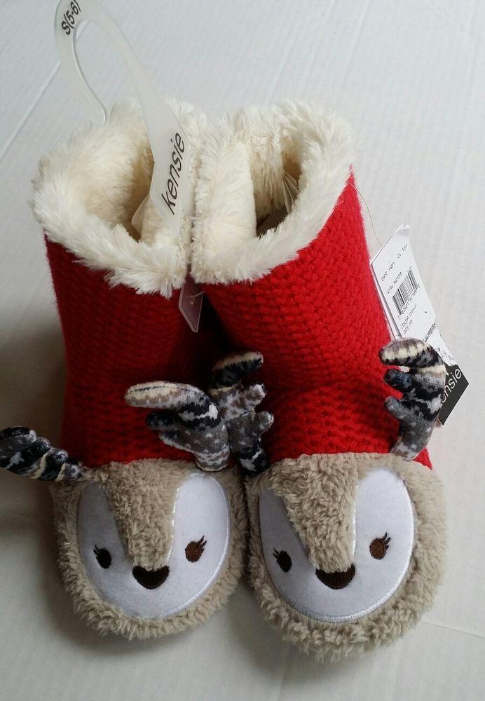 0e6f1810873f Womens Slipper Booties Kensie Girl Relindeer Knit Faux Fur Boot Size Sm 5 6   KensieGirl  Bootiesboots