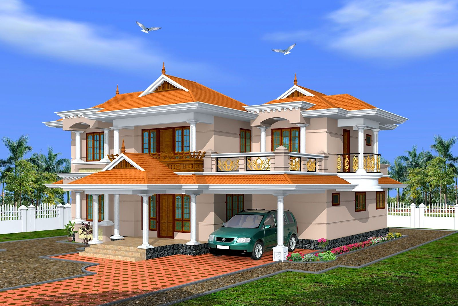 Creative exterior design attractive kerala villa design s for Kerala style villa plans
