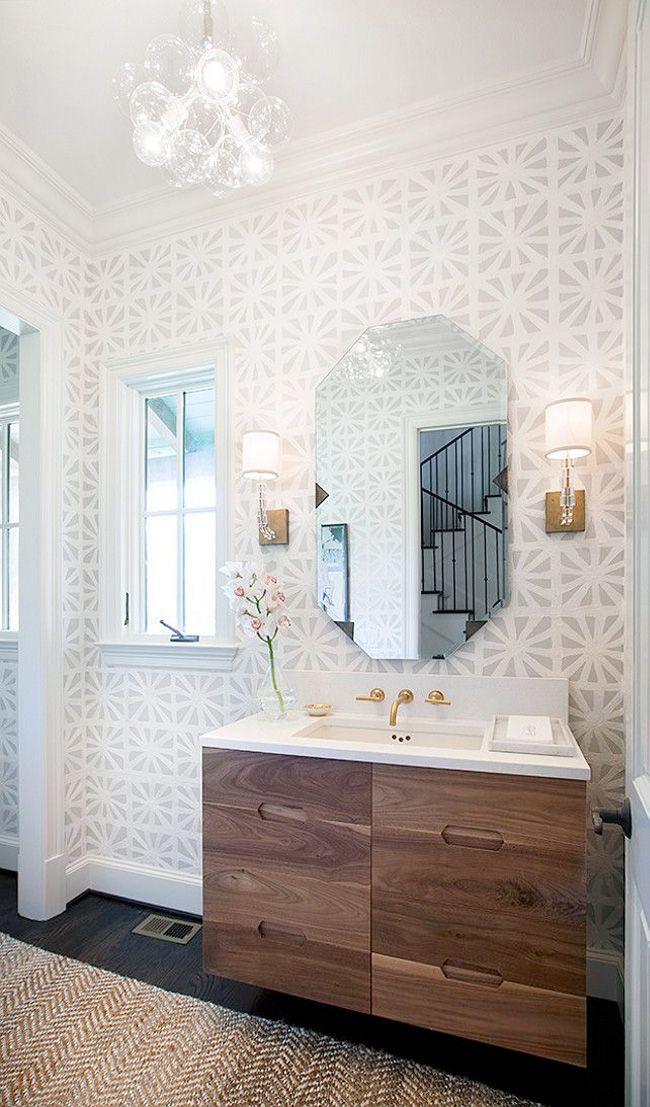 Quadrille china seas sigourney large scale wallpaper gray on white wp bathrooms bathroom powder room also