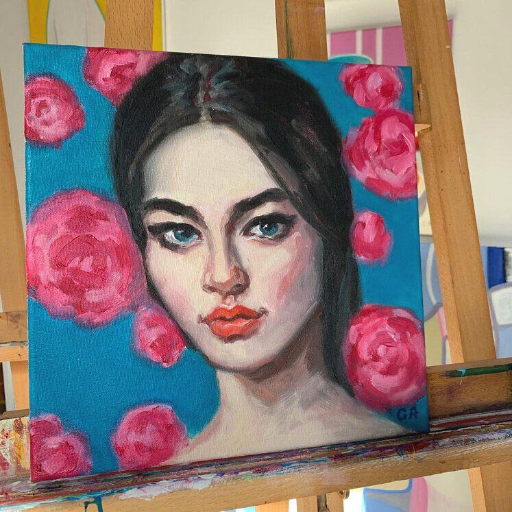 Buy original art #oilpainting #portraitpainting #commissionportrait #woman #brunettebeauty #buyart #floralbackground #facepainting