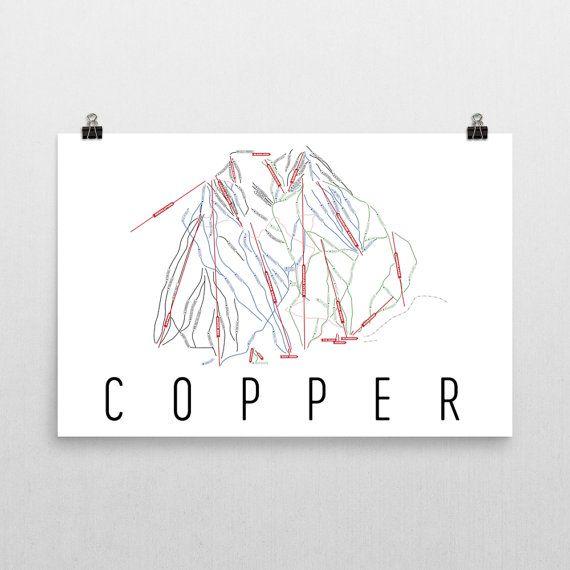 Copper Mountain Ski Map Art, Copper Mountain CO, Copper Trail Map, Copper Mountain Ski Resort Print, Copper Mountain Poster, Art, Gift