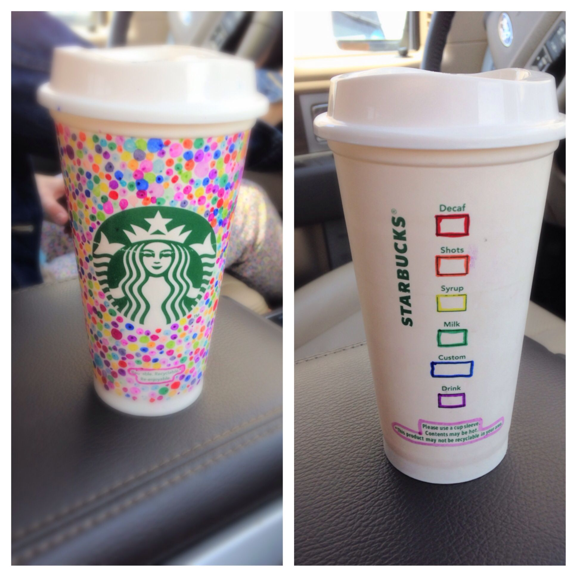 Decorate a reusable starbucks cup with sharpies☕️