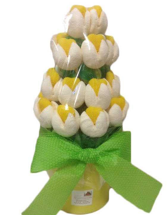 Maceta de flores de chuches maceta realizada con tulipanes - Macetas de chuches ...