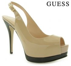 GUESS PINNA SLING BACK PATENT BEIGE