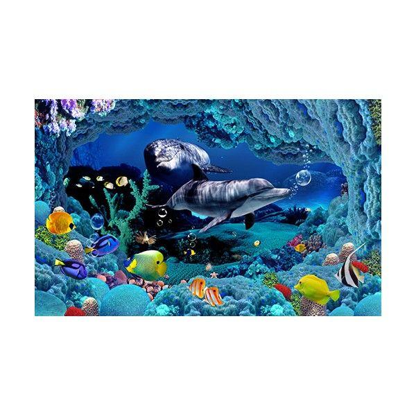 papier peint effet 3d paysage fond marin avec les dauphins. Black Bedroom Furniture Sets. Home Design Ideas